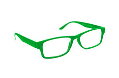 Green Eye Glasses Isolated on White shallow depth of field and s Stock Photography