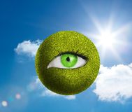Green eye in a green globe Stock Photo