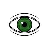 Green eye illustration. Isolated green eye illustration on white background Royalty Free Stock Photography