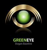 Green eye  logo. Design of creative corporate metallic logo with a slogan baseline Stock Photo