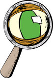 Green Eye and Magnifying Glass Stock Photo