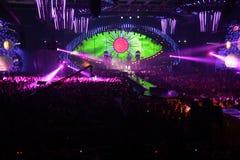 Green eye in nightclub Stock Images