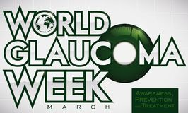 Green Eye Sick Promoting Prevention and Treatment in Glaucoma Week, Vector Illustration. Banner for World Glaucoma Week with a green iris and liquid accumulated Stock Photo
