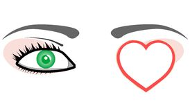 Green eye with valentines love heart. Vector Stock Photos