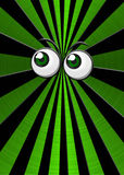 Green eyeballs on star burst background. Metallic green star burst background with green eyeballs Stock Photo