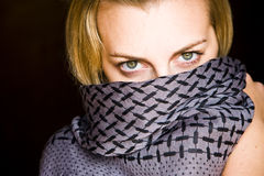 Green eyed beauty with covered face Royalty Free Stock Photography