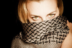 Green Eyed Beauty With Covered Face Royalty Free Stock Photo