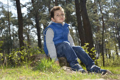 The   green-eyed boy sitting in the woods. Royalty Free Stock Photo