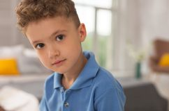 Green-eyed curly boy wearing stylish polo shirt. Polo shirt. Handsome green-eyed curly boy wearing blue stylish fashionable polo shirt looking at his lovely Royalty Free Stock Photography
