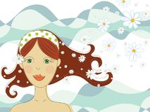 Green eyed girl with flowers in spa. Illustration Stock Photography
