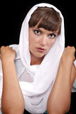 Green-eyed lady with white veil Royalty Free Stock Images