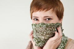Green eyed redhead woman with scarf Stock Photography
