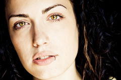Green eyed woman portrait. Royalty Free Stock Images