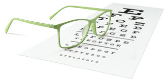 Green eyeglasses on visual test chart isolated on white. Eyesight concept stock images