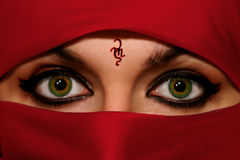 Green Eyes. Eyes in Arabian/Indian style Royalty Free Stock Photos