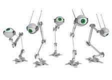Green Eyes. 5 3d robotic eyes, horizontal, over white, isolated Royalty Free Stock Photos