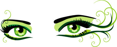 Green eyes. Female green eyes. Vector illustration