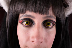 Green Eyes contact lenses woman portrait. Stock Image