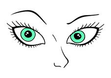 Green eyes. Creative design of green eyes vector illustration