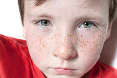 Green eyes and freckle. Portrait of young boy with green eyes and freckle Stock Photography