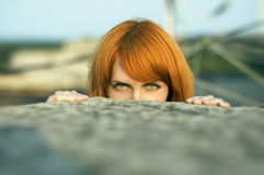 Green eyes of a girl Royalty Free Stock Photos