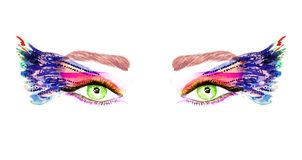 Green eyes with makeup, orange, pink and blue wings of butterfly shape eyeshadows. Hand painted watercolor fashion illustration isolated on white background Royalty Free Stock Photo