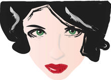 Green eyes red lips. Woman with green eyes and red lips stock illustration