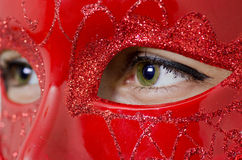 Green eyes between a red mask Royalty Free Stock Image