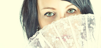 Green eyes of woman royalty free stock photo