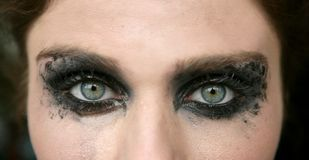 Green eyes woman, black makeup eye shadow. Macro stock photography