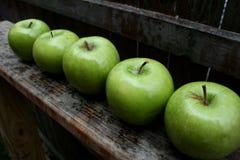 green för 2 äpplen Arkivfoton