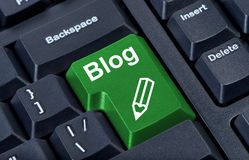 green för blogknappdator Arkivfoton