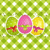 green för gingham för kanteaster ägg vektor illustrationer