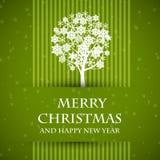 Green förbjudit julkort med jultreen royaltyfri illustrationer