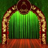 Green fabric curtain with gold on stage Royalty Free Stock Photography