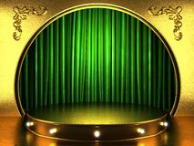 Green fabric curtain with gold Royalty Free Stock Photo