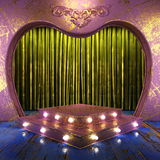 Green fabric curtain on stage Royalty Free Stock Images