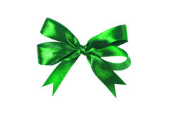 Green fabric ribbon and bow isolated on white background Stock Image