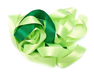 Green fabric ribbon. On the white Royalty Free Stock Images