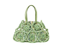 Green fabric weaved handbag Stock Photos