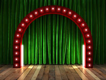 Green fabrick curtain on stage. Green fabrick curtain on color stage stock illustration