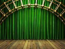 Green fabrick curtain on stage Royalty Free Stock Images