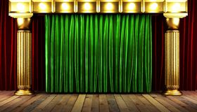 Green fabrick curtain on stage. Green fabrick curtain on golden stage royalty free illustration