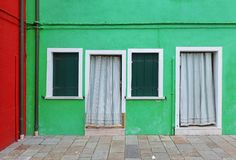 Green facade house Royalty Free Stock Photography