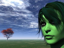 Green face Royalty Free Stock Photography
