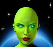 Green face of an alien. Green face of female alien. Shining planet on a background. Human elements were created with 3D software and are not from any actual vector illustration