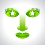 Green face eco  with bulb Stock Photography