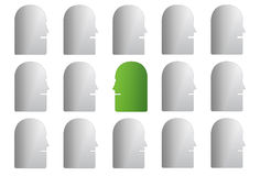 Green face in grey group. Illustration of grey group of human faces with green face looking in opposite direction, isolated on white background Stock Illustration