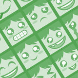 Green faces background Stock Photography