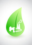 Green factory - environmental conception with leaf Royalty Free Stock Photography